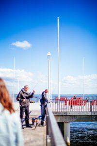 Pêcheurs sur la jetée Croix des Marins à Arcachon