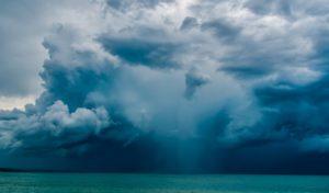 Ciel gris et temps pluvieux au Bassin d'Arcachon