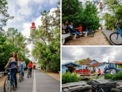 Balade à vélo entre filles au Cap Ferret à l'automne